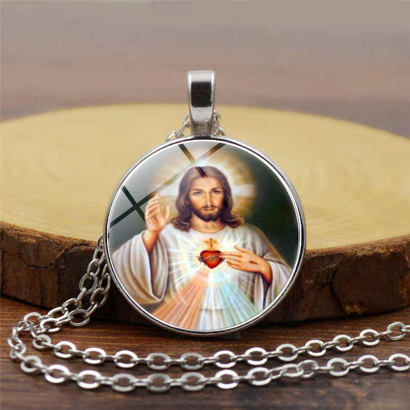 Blessed Virgin Mary Mother of Baby Necklace Jesus Christ Christian Pendant Catholic Religious Glass Tile Necklaces Pendants