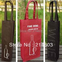 500pcs/lot PP non woven reusable one bottle wine bag with logo(China)