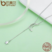 Fashion 925 Sterling Silver Moon and Star Tales Chain Link Pendant Necklaces for Women Fine Jewelry