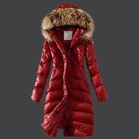 Real мех енота 2017 дамы длинное зимнее пальто Для женщин Ультра парка куртка вниз Для женщин s парка с капюшоном Женский фугу пальто и куртки