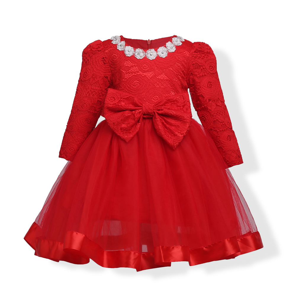 100-150cm Dress for Girl Christmas Party New Year Dress Girl Clothes Long Sleeves Vestido Cotton Lace Red Costume Bowknot 2016 new girls clothes 100% cotton cute pink gray lace dress for the girl princess dress art bowknot sleeveless dress