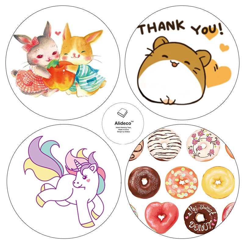 Alideco DIY Japanese Paper Washi Tapes Animals Donuts Masking Tapes Decoration Adhesive Tapes stickers stationery 1.5cm*10m 1pc black and white grid washi tape japanese paper diy planner masking tape adhesive tapes stickers decorative stationery tapes