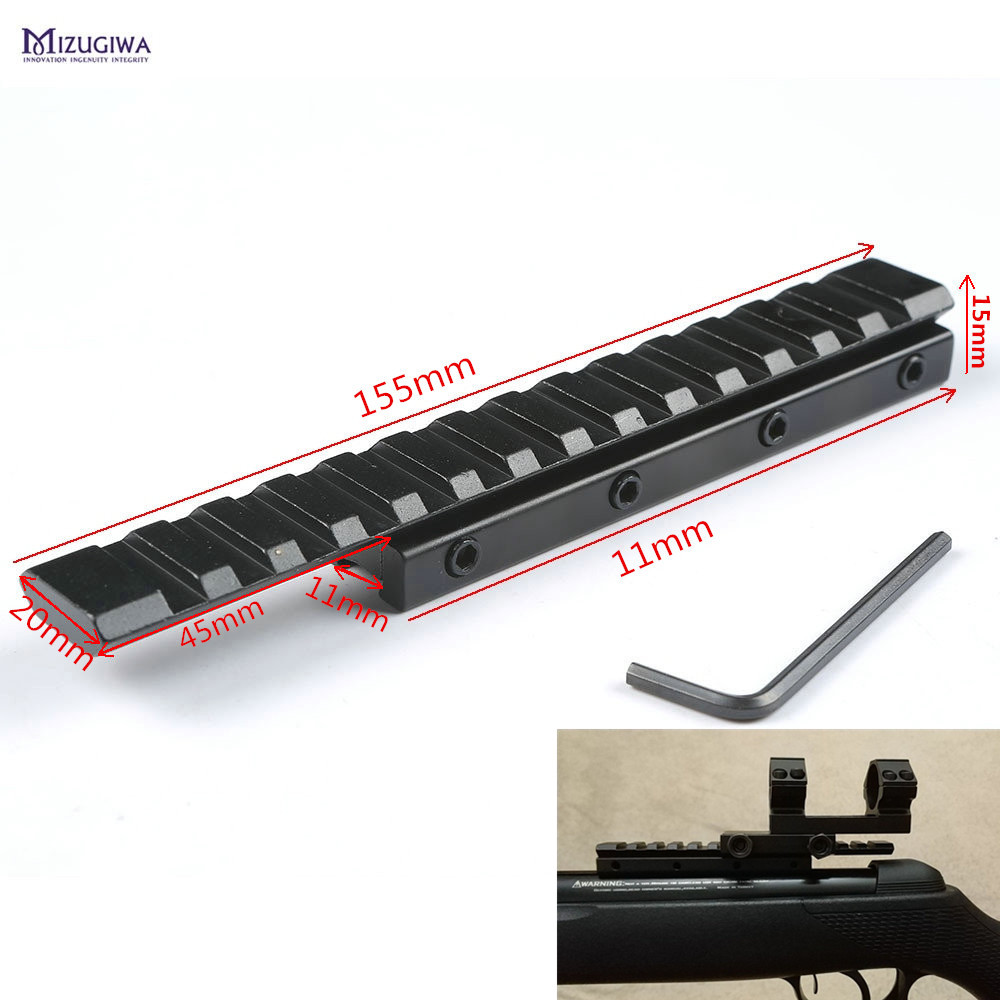 MIZUGIWA Dovetail Extend Weaver Picatinny Rail Adapter 11mm to 20mm Converter Tactical Scope Mount  Bases Rifle Airsoft