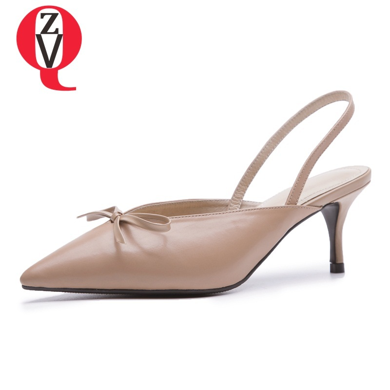 ZVQ women shoes new fashion genuine leather high thin heels pointed toe slip-on bowties outside three colors lady pumps venchale 2018 summer new cow leather solid outside butterfly knot high thin heel three colors casual pointed toe women s slides