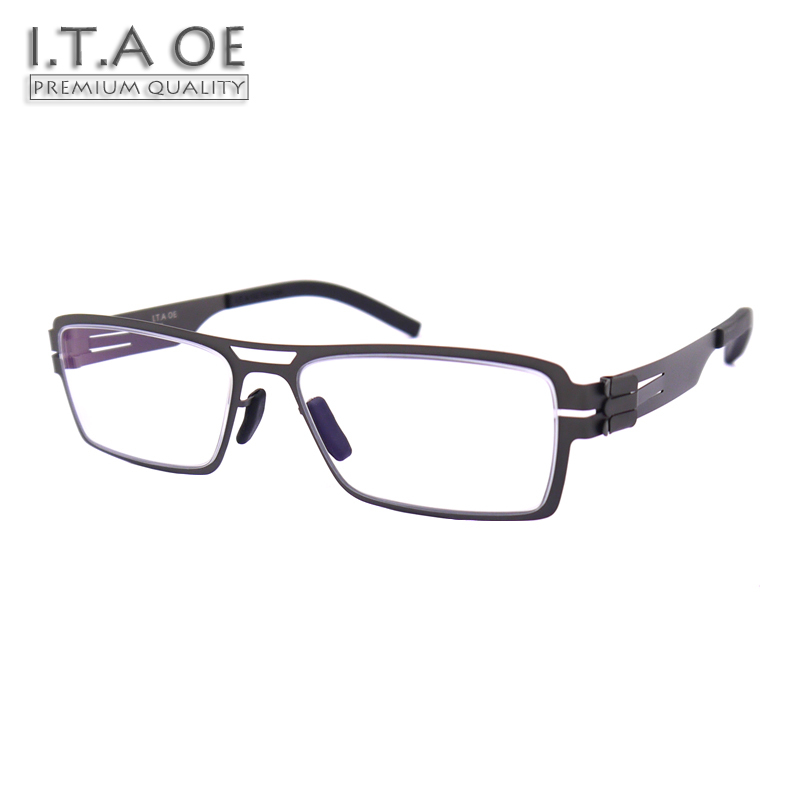 ITAOE Model J.P No Screws Screwless Stainless Steel Men Optical Prescription Glasses Eyewear Frames Spectacles 139mm itaoe model 404 high quality acetate men optical prescription glasses eyewear frames spectacles 141mm