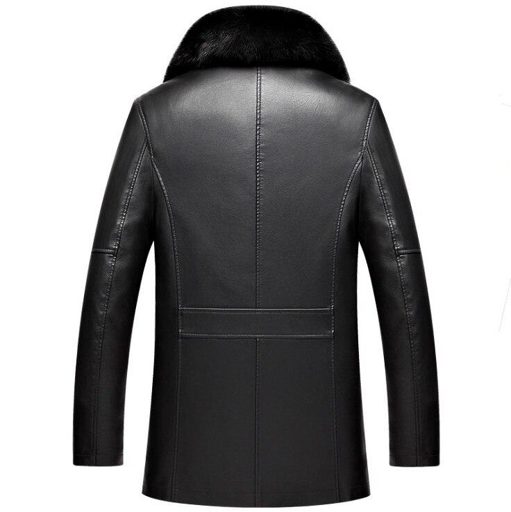 DQIYU russie hiver veste en cuir hommes nouveau col en fourrure véritable veste en cuir épaissir Long hommes coupe-vent veste décontracté mâle manteau - 2