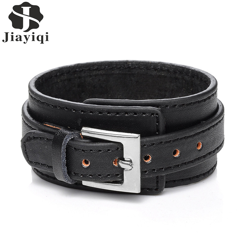 Jiayiqi 2017 Punk Genuine Leather Bracelet Men Vintage Wide Cuff Bangles Adjustable Buckle Wristband Male Jewelry Black & Brown