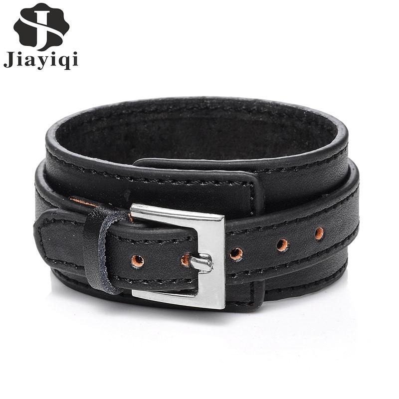 Jiayiqi 2017 punk lederen armband mannen vintage brede manchet armbanden verstelbare gesp polsband mannelijke sieraden zwart en bruin