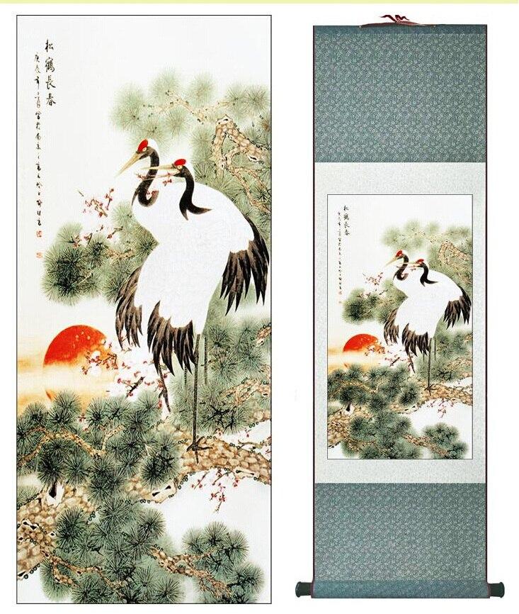 Super kvalita Tradiční čínské umění malba Domácí kancelář dekorace Čínské malířské jeřáby s borovicemiTiskové malby