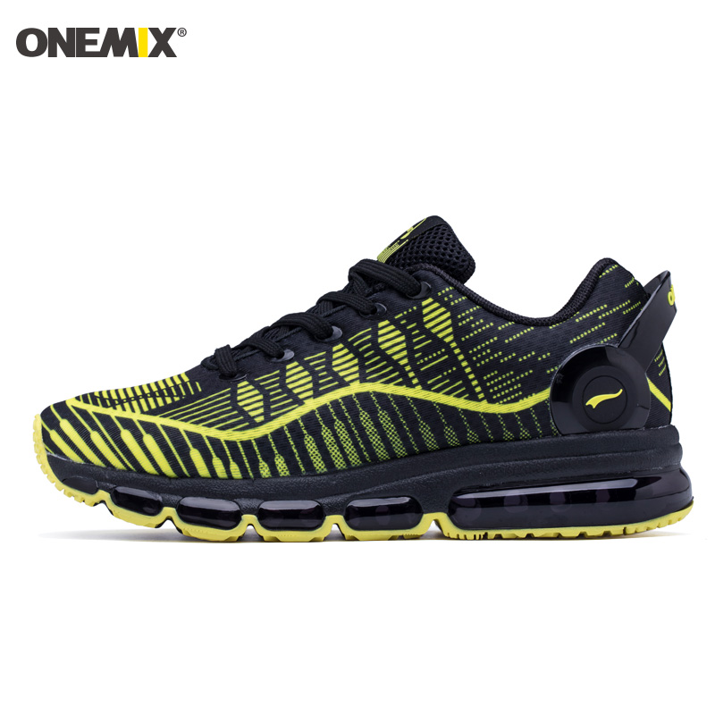 ONEMIX 2018 Man Running Shoes For Men Black Yellow Cushion Shox Athletic Trainers Sports Max Breathable Outdoor Walking Sneakers 2018 man running shoes for men cushion shox athletic trainers sport shoe max zapatillas wave breathable outdoor walking sneakers