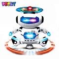 Hot New Design Crianças Eletrônico Andando Dança Espaço Robô Inteligente Cool Kids Modelo Astronauta Luz Música Brinquedos de Presente de Natal