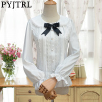 PYJTRL Spring Autumn Lovely LOLITA Chiffon Lace Lantern Long Sleeve Shirt Womens Clothing Blusas Femininas Women