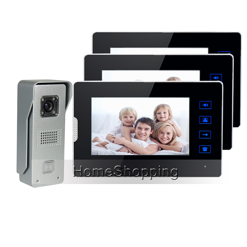 FREE SHIPPING Wired 7 TFT Touch Screen Video Door phone Intercom System + 3 Monitors + 1 Metal Waterproof Door Camera IN STOCK free shipping touch key wired 7 inch color screen video intercom door phone system 3 monitors 1 outdoor bell camera in stock