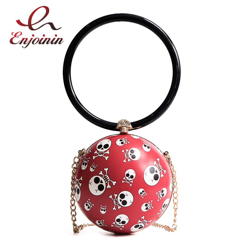 Punk skull pattern black & red round pu fashion ladies handbag shoulder bag totes female chain purse crossbody messenger bag fashion new design pu leather lotus wave female chain purse shoulder bag handbag ladies crossbody messenger bag women s flap