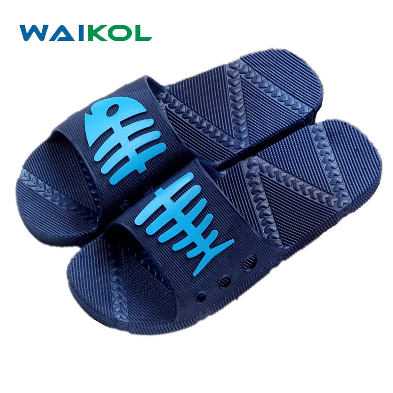 Waikol Men Summer Sandals Soft Flip Flops Male Beach Platform non-slip Slippers Bathroom Fish Bones Slippers Casual Shoes suihyung design new women and men summer flat shoes hit color breathable hollow beach slippers flips non slip unisex sandals