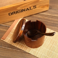 Japan Style Wood Seasoning Cans with Spoon Sauce Pot Dish Suits Spice Pepper Shakers Salt Pigs Spice Bottles