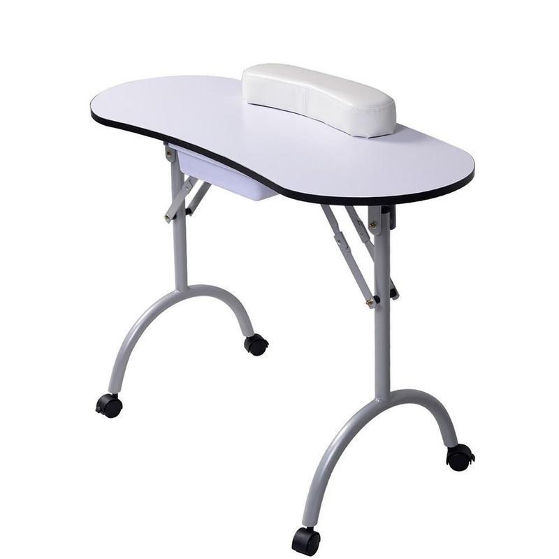 Portable Manicure Nail Table Station Desk Spa Beauty Salon Equipment Black White Equipment For Nails Foldable Nail Table цена