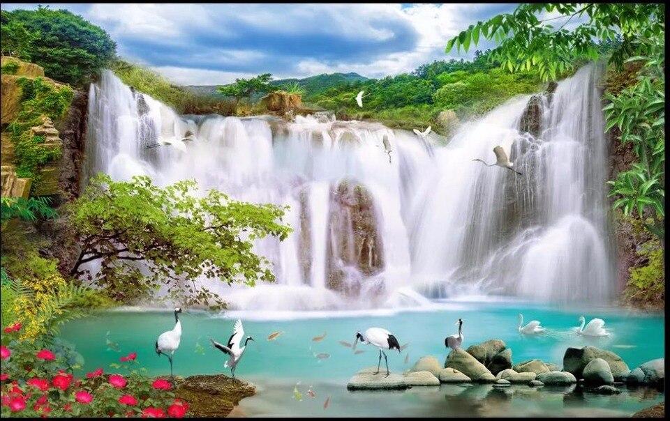 Modern Wallpaper Waterfall landscape Wallpaper For Living Room HD nature landscape 3D Wallpaper Painting Papel