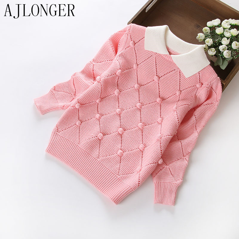 2017 New Brand Fashion Kids Clothes Girls Hairball Children Sweater College Style Girl Sweaters