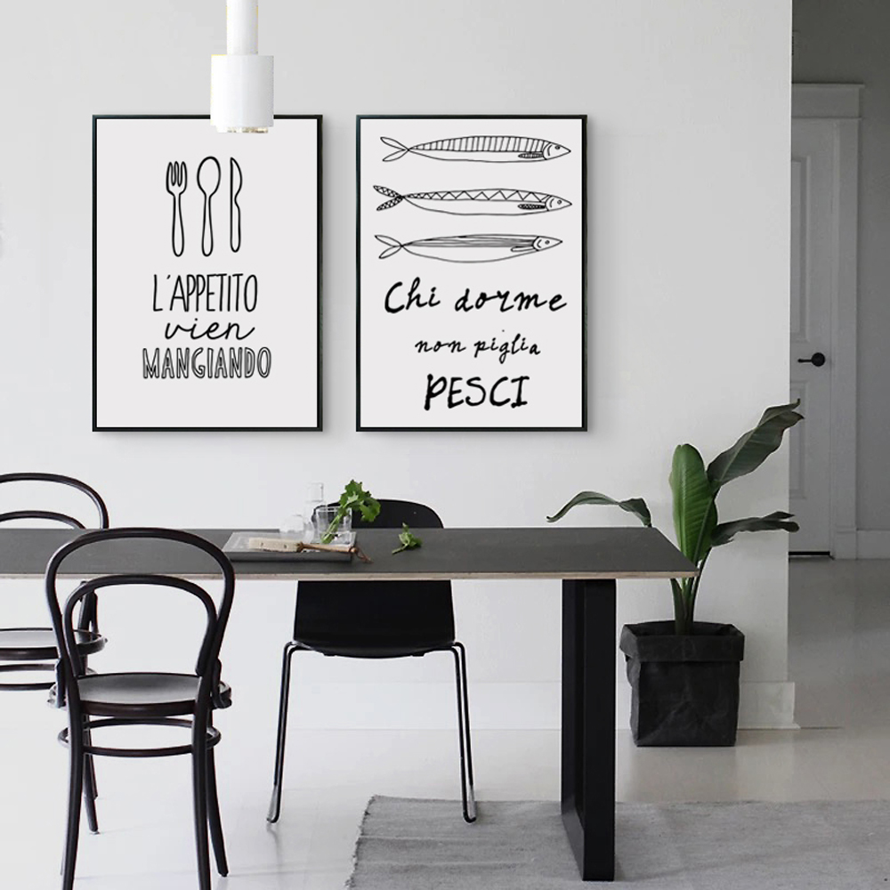 modern kitchenware reviews  online shopping modern kitchenware  - black and white painting tableware kitchenware food phrases poster image aart print canvas living room kitchen decoration