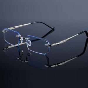 Image 2 - Fashion Eyeglasses Diamond Trimming Cutting Rimless Eyeglasses Prescription Optical Glasses Frame for Men Eyewear