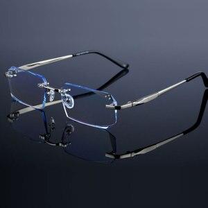 Image 2 - Occhiali di modo Diamante Guarnizioni di Taglio Senza Montatura Occhiali Da Vista Ottica Occhiali Cornice per Gli Uomini Occhiali