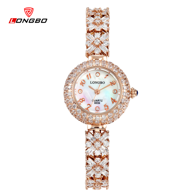 ФОТО Top LONGBO brand rose gold womens bracelet watches luxury watch women fashion quartz watch full diamond relogio feminino 6036