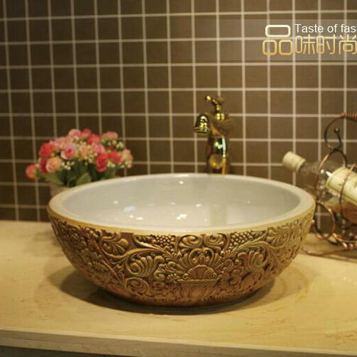 Deep Embossed Ceramic Lavabo Pia Banheiro Round Countertop Bathroom Sink Washbasin China