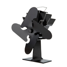 16% Flue Saving Heat Powered Stove Fan 4-Blade Black Aluminum Wood Burning Stove Fan free shipping cheap heat powered stove fan in black gold silver coppery blade