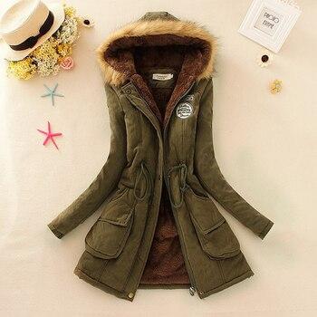 Winter Women Coat 2016 Parka Casual Outwear Military Hooded Coat Woman Clothes Fur Coats manteau femme Winter Jacket Women C001