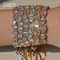 ZAKOL Delicate 3 Color Plating Girls Adjustable Baguette Bracelet Charms Stacked Cubic Zircon Jewelry For Wedding FSBP139