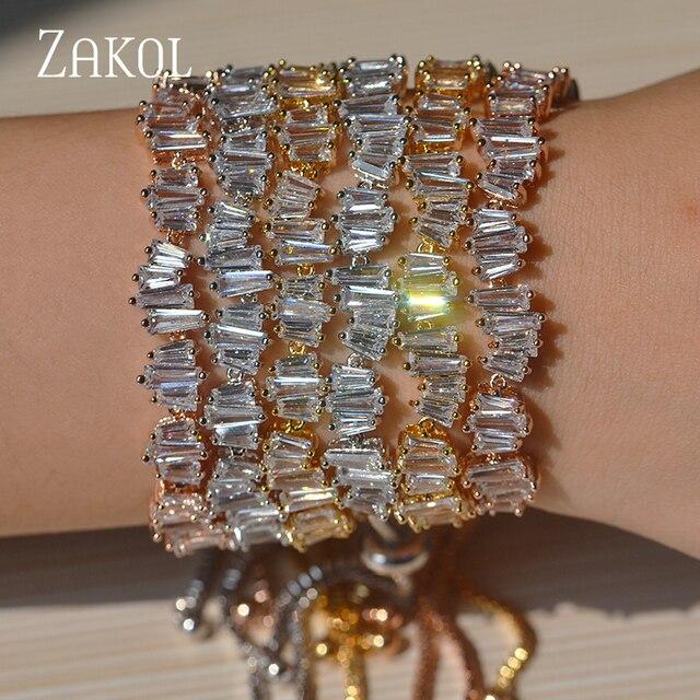 ZAKOL Delicate 3 Color Plating Girls Adjustable Baguette Bracelet Charms Stacked Cubic Zircon Jewelry For Wedding FSBP139
