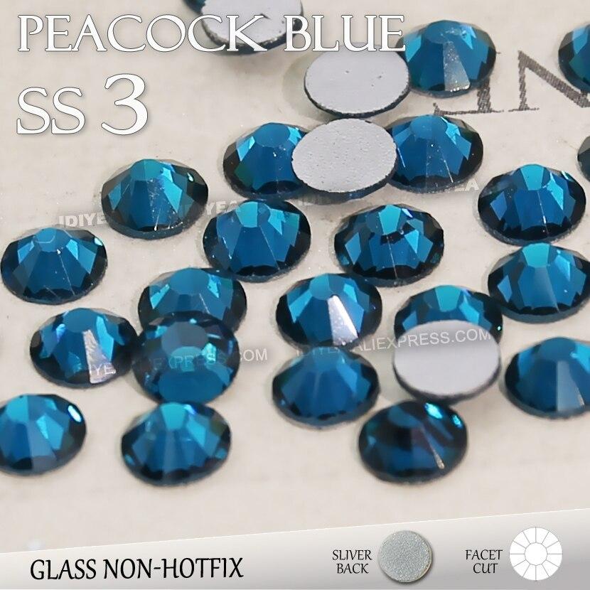 SS3 1.4mm Merak Biru Nail Rhinestones 1440 pcs bag Non HotFix Pipih Kristal  kaca strass Glitters untuk nail Art batu ed6edffce9