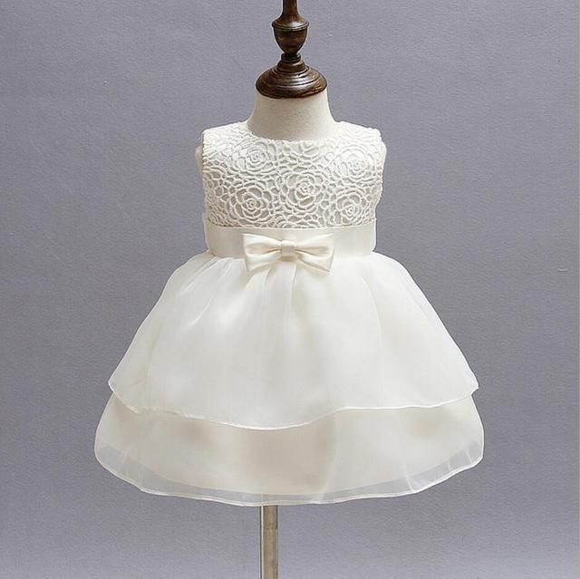 39d522a80e US $17.67 32% OFF|1PC Off White Sleeveless Baby Girl Baptism Christening  Easter Gown Dress Lace Rose Bowknot Baby Girls Party Dress 0 24Months-in ...