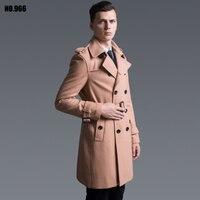Шерстяное пальто мужской 2018 осень/осень двубортный модные средней длины плюс размер шерстяной Тренч верблюжья тонкая куртка