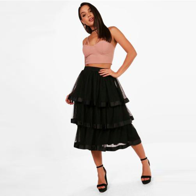 9d87e2605 New Fashion Black Tiered Ruffles Mid Calf Tulle Skirts For Women Zipper  Fashion Female Maxi Skirt 2018 Faldas Female Saia