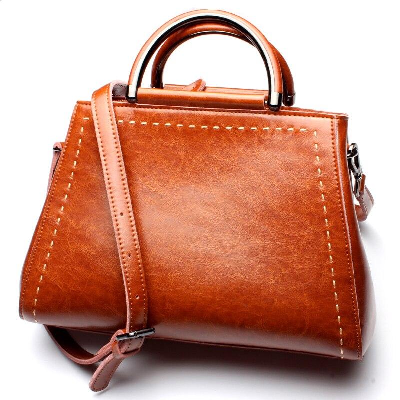 새로운 도착 럭셔리 핸드백 여성 가방 디자이너 오일 왁스 진짜 가죽 토트 숙녀 어깨 가방 캐주얼 메신저 가방 브라운 bolsos-에서탑 핸드백부터 수화물 & 가방 의  그룹 1
