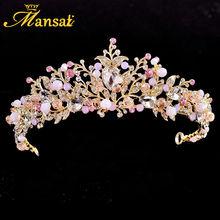 Nueva Corona De La Boda de Oro Bijouterie Diademe Tiaras Pelo Joyería de La Perla De Imitación Rosa de Cristal Mariage Princesa Reina Diadema HG219