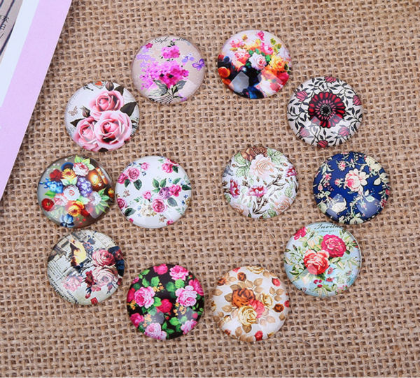 12pcs 30mm Rural Flowers Restoring Ancient Round  Diy Handmade Photo Glass Cabochons & Glass Dome Cover Pendant Cameo Settings