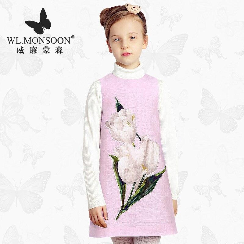 Robe fille 2019 automne robe imprimé tulipe rose sans manches enfants robes pour filles princesse vêtements