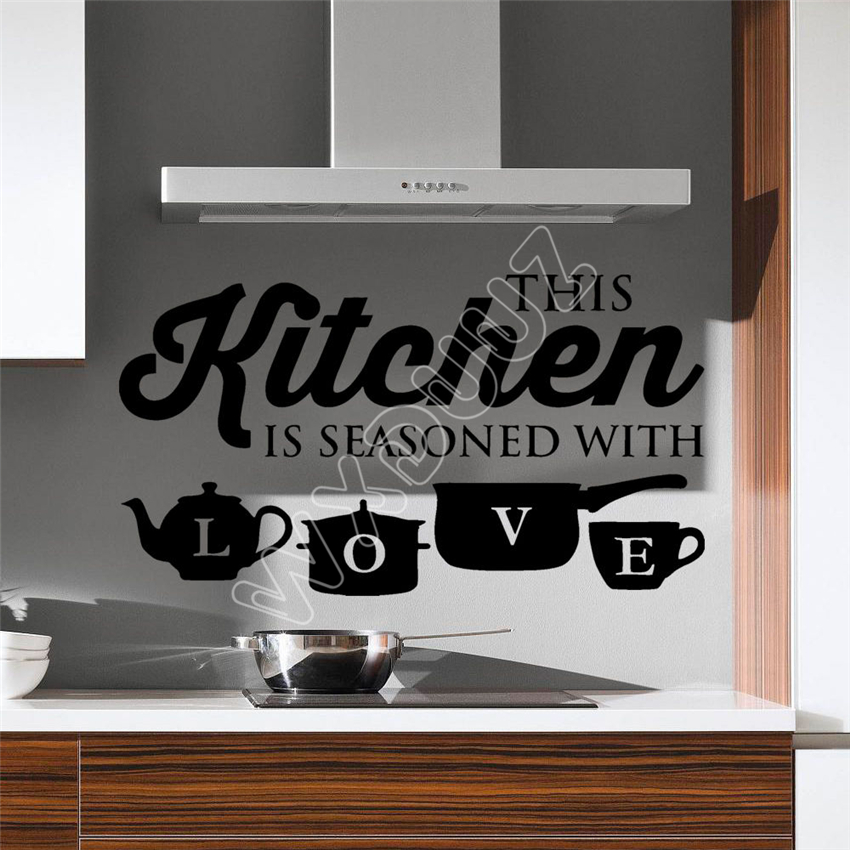 WXDUUZ Kitchen Pot Love Cup Wall Stickers Art Dining Room Removable Decals DIY Wall Sticker Home Decor Wall Decals B553