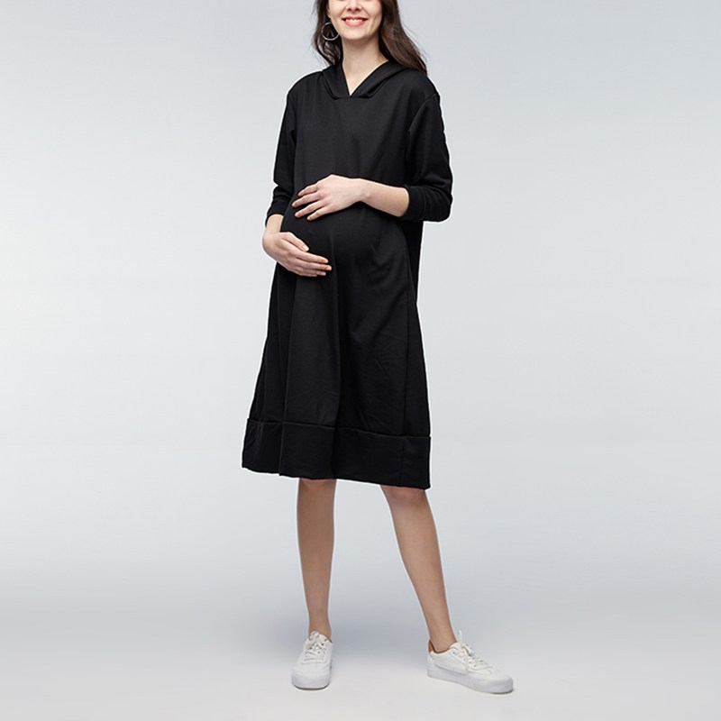 Maternity Clothes 2018 Spring Hooded Mid-calf Solid Dress Pregnant Women Long Sleeve Casual Loose Pregnancy Vestidos Plus Size