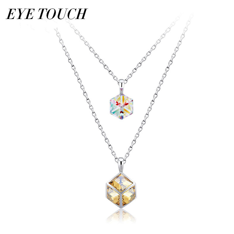 EYE TOUCH Pendants Women Necklaces Crystals From Swarovski Chic Mixed Color Women Sweater Chain Necklace El collar Elegant Chic