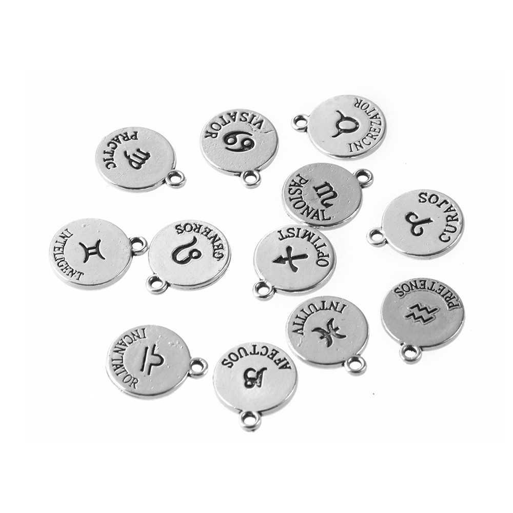 Nuovo 12*14.5mm in lega di Argento Antico Dodici Dello Zodiaco Metallo Pendenti e Ciondoli FAI DA TE Costellazione Per Le Donne Monili Che Fanno Mini Pendenti e Ciondoli 12 pz/lotto
