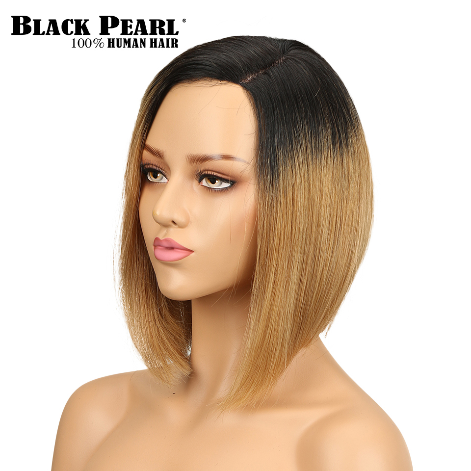 Black Pearl Ombre Short Bob Wig Remy Brazilian Straight Hair 150% Density Ombre Color Human Hair Wigs For Women