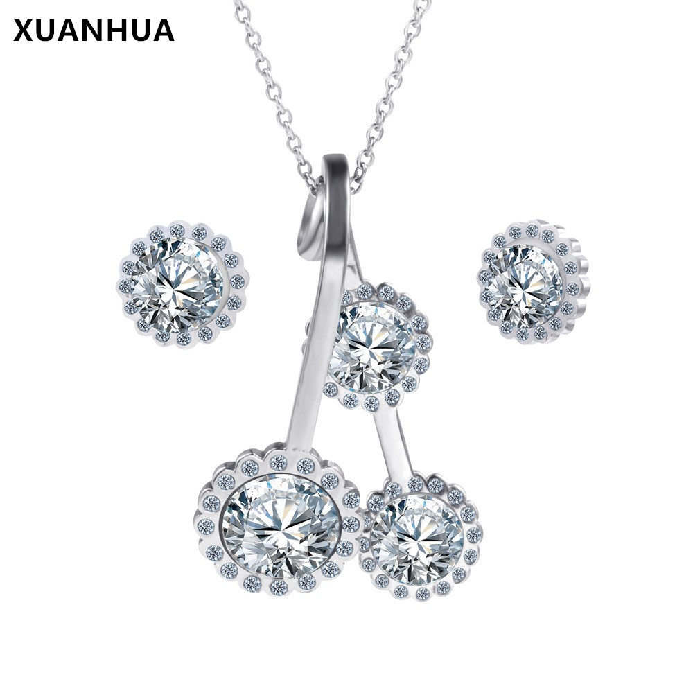 XUANHUA Stainless Steel Jewelry Sets Jewellery Indian Wedding Fashion For Women 2018 Rhinestone Necklace Earrings Set Schmuck  1