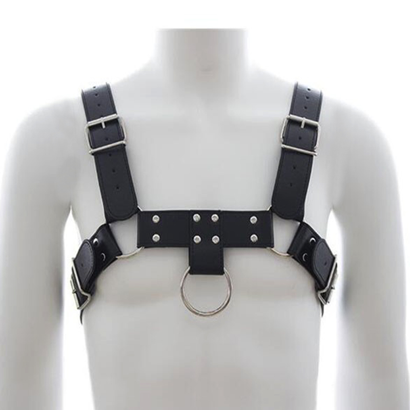 Men Leather Harness Body Shoulder strap belts Sexy Punk Binding Cage Sculptures Breast Belt O metal circle Leather Pants Braces