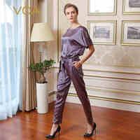 Voa 2018 сезон: весна–лето Новая мода фиолетовый Для женщин шелк Комбинезоны для женщин Свободные Однотонная повседневная обувь рукав «летуча