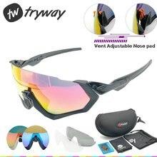 52cadf5203 2018 gafas de sol polarizadas 3 lente hombres sport Road MTB al aire libre  bicicleta chaqueta de vuelo gafas ciclismo JBR gafas