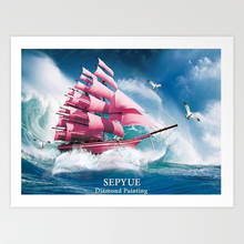 SepYue 5d Diy Diamond Painting Full Drill Square Sailing Scenery  Kit Mosaic Home Decor